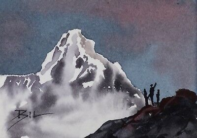 ACEO Original Art Watercolour Painting by Bill Lupton  - Explorers View
