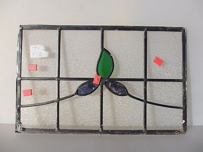"""Vintage Stained Glass Window Panel Victorian Deco Nouveau Old   20.75"""" x 12.5"""""""