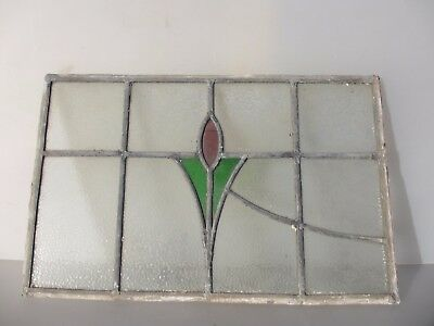 "Vintage Stained Glass Window Panel Antique Deco Nouveau Old   20.5"" x 13.5"""