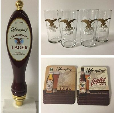 Yuengling LAGER Tap Handle (Tall) Pub Glass (4) Coaster (12) Gift Set ~ NEW