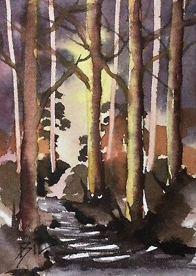 ACEO Original Art Watercolour Painting by Bill Lupton  - In the Woods