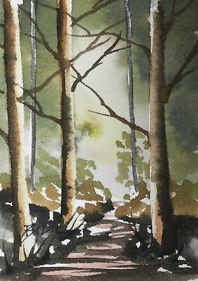 ACEO Original Art Watercolour Painting by Bill Lupton  - Autumn Late