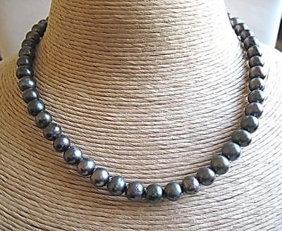 """Classic Blue/Grey Freshwater Pearl Necklace - Silver Clasp - 18"""""""