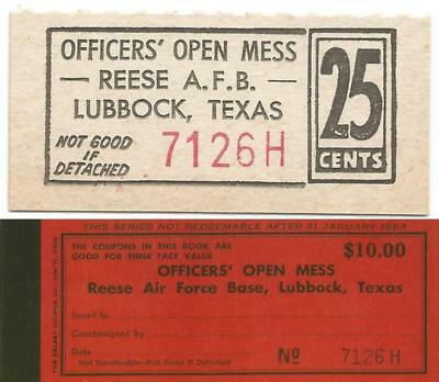 1963 LUBBOCK, TEXAS 25¢ Officers Open Mess CHIT from Closed REESE AIR FORCE BASE