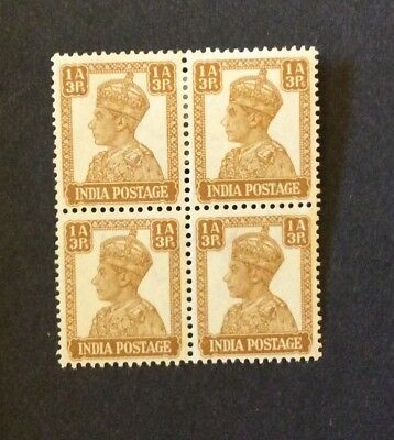 India 1940. 1a 3p. Block of 4 MH.