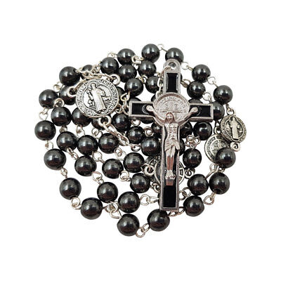 BLESSED CATHOLIC ROSARY NECKLACE Hematite Beads St Benedict Medal Cross Gift Box