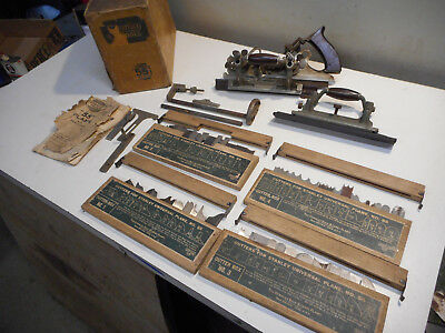 L2702- Antique Stanley No. 55 Combination Plane 4 Boxes of Cutters and  Box SW