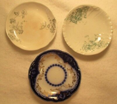LOT of 3 VINTAGE HAND PAINTED BUTTER PATS 1 ALFRED MEAKIN ENGLAND 2 GERMAN??