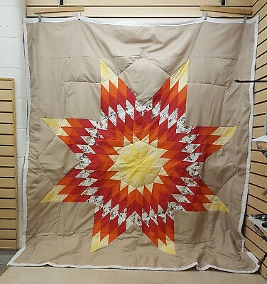 Beautiful Great Condition Homemade Native American Indian Star Quilt Blanket!