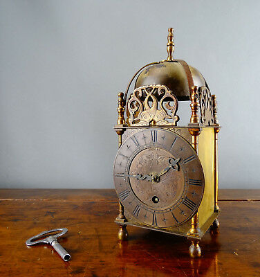 Antique Style Brass Lantern Clock by Smiths 8 Day Vintage 1950s with Key
