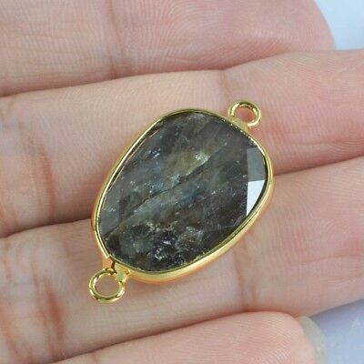 Natural Labradorite Faceted Bezel Connector Gold Plated T050421