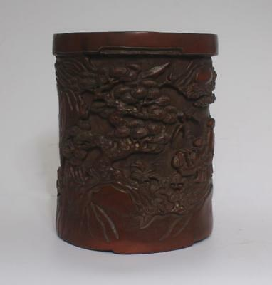 Very Rare Chinese Hand Carved Bamboo Brush Pot (L984)