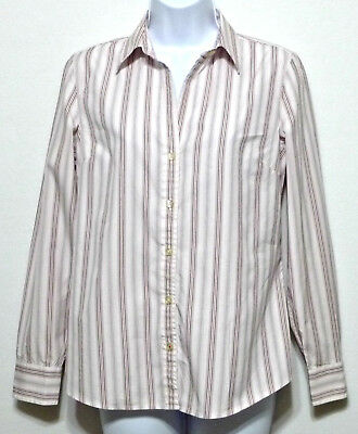 Banana Republic Ladies Fitted White and Pink Stripe Cotton Shirt Sz Small (4-6)