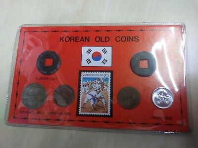 Korean Old Coins 6 Coin Set & Stamp