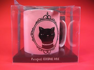 Chasing Lola Purrfect Black Cat Ceramic Pink Coffee Tea Mug MINT NIP