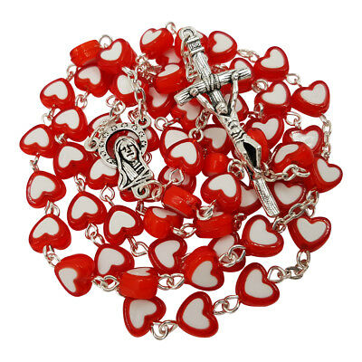 Catholic Rosary Necklace Red Heart Beads Virgin Mary Centerpiece Holy Land Gift