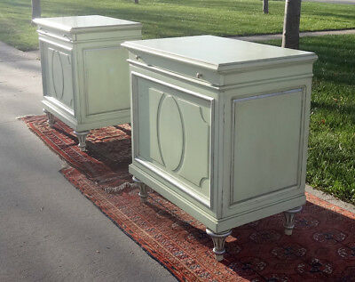 Pair KARGES Nightstands-Hollywood Regency-Pale Green/Silver-French Empire Style