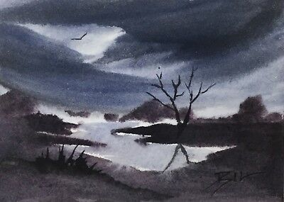 ACEO Original Art Watercolour Painting by Bill Lupton - Sky at Night