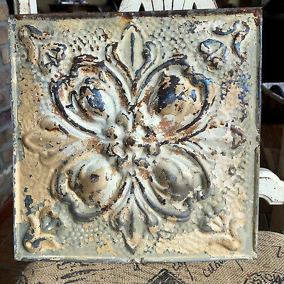 """12"""" Antique Tin Ceiling Tile -- tan Colored Paint with Ornate Design - A1"""