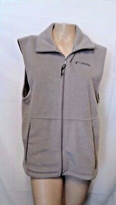 Columbia M Women's Gray Vest With Zipper Pockets Full Zip Jacket Medium