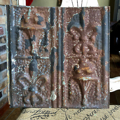 "12"" Antique Tin Ceiling Tile -- Rust Patina with Pretty Design - A1"