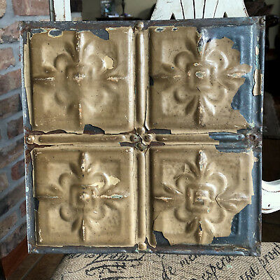 """12"""" Antique Tin Ceiling Tile - Chippy Brown Colored Paint - Small Flower Design"""
