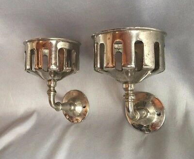 Pair Antique Nickel Brass Wall Mount Cup Holder Old Victorian Bathroom 281-17J