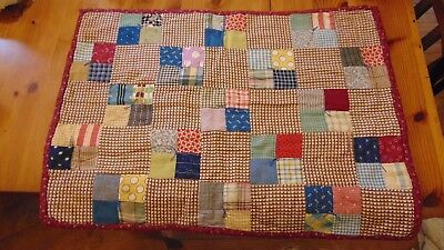 "Doll Quilt Vintage 4 Patch Patchwork Feed Sack Indigo 18"" x 26"""