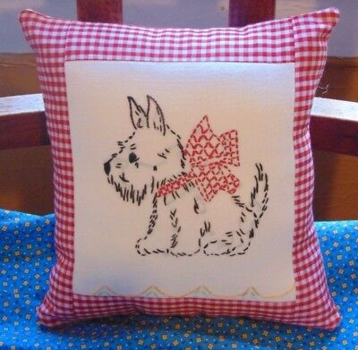 Embroidered Scotty Scottie Dog Pillow Red Gingham