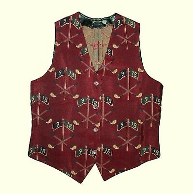 VINTAGE Kitsch Novelty Golf Sports Unisex 90s Red Burgundy 80s Waistcoat Top M