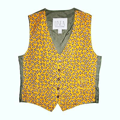 VINTAGE Yellow Grey Kitsch Boho Unisex Folk 60s 70s 80s Pattern Waistcoat Top L
