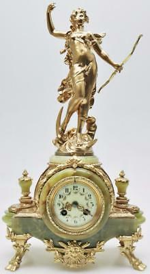 Antique 19thc French 8 Day Gilt Metal & Green Onyx Classic Figural Mantle Clock