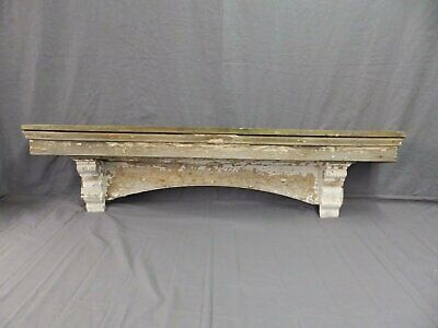 Lrg Antique Window Pediment Header Corbel Shelf Vtg Shabby Victorian Old 480-17P