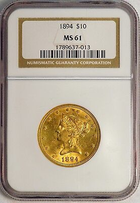 1894 $10 US Liberty Head Gold Eagle Coin (NGC MS 61 MS61) (08375)