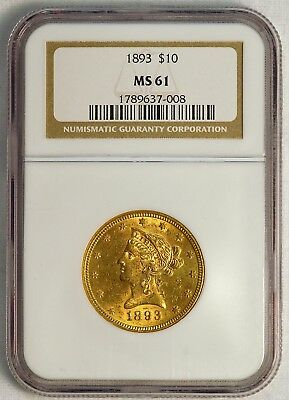 1893 $10 US Liberty Head Gold Eagle Coin (NGC MS 61 MS61) (08376)