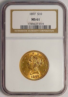 1897 $10 US Liberty Head Gold Eagle Coin (NGC MS 61 MS61) (08377)