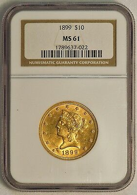 1899 $10 US Liberty Head Gold Eagle Coin (NGC MS 61 MS61) (08379)