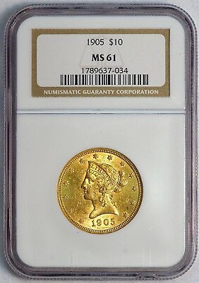 1905 $10 US Liberty Head Gold Eagle Coin (NGC MS 61 MS61) (08372)