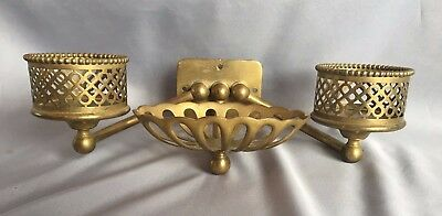 Antique Silvers Decorative Brass Double Cup Holder Soap Dish Old  Vtg 283-17J