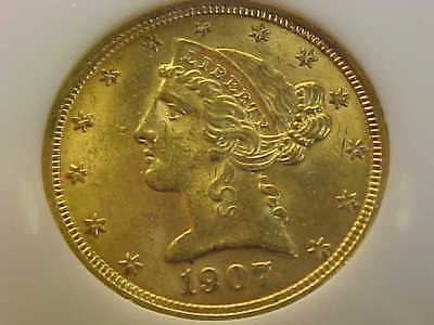 1907  Liberty  Half  Eagle  Gold $5 Ngc Ms 62 Lustrous Gem Coin