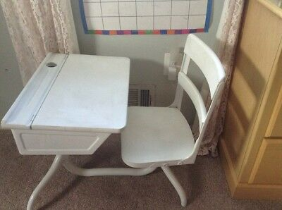 Vintage Child's School Desk with Attached Swivel Chair WHITE 1950's