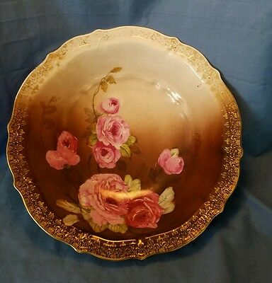 C T Carl Tielsch Germany Bowl Pink Roses on Brown background Gold trim (6)