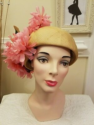 Women's Vintage Jack McConnell Beige Turban hat with Large Pink Flowers L@@K