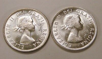 Canada - 1955 & 1956 - Pair of Uncirculated 50 Cents Half Dollars