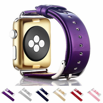 For Apple Watch 38 mm /42 mm Premium Glossy Smooth PU Leather Watch Strap Band