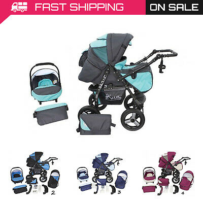 Baby Pram 3in1 Stroller Pushchair Car Seat Carrycot Travel System Buggy FREEBIES