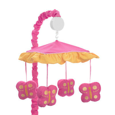 Musical Mobile for Pink Orange Butterfly Baby Crib Bedding by Sweet Jojo Designs