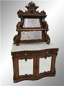 19521A Antique Victorian Carved Marble Top Sideboard – Civil War Era