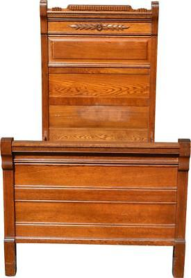 17156 Victorian Oak Raised Panel Carved Twin Size Bed