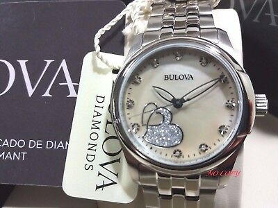 Orologio BULOVA DIAMOND da Donna Brillanti e MadrePerla NUOVO INCISIONE LASER